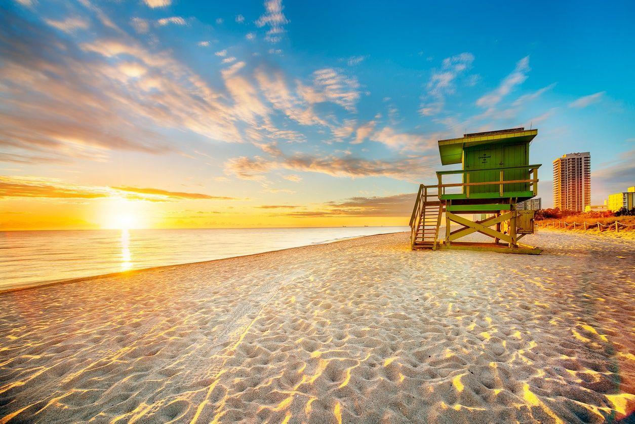South Beach, Miami bei Sonnenuntergang
